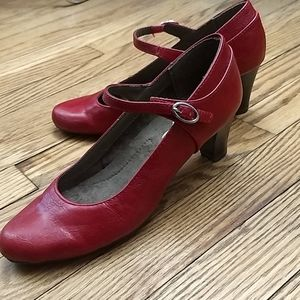 Red leather pump heels